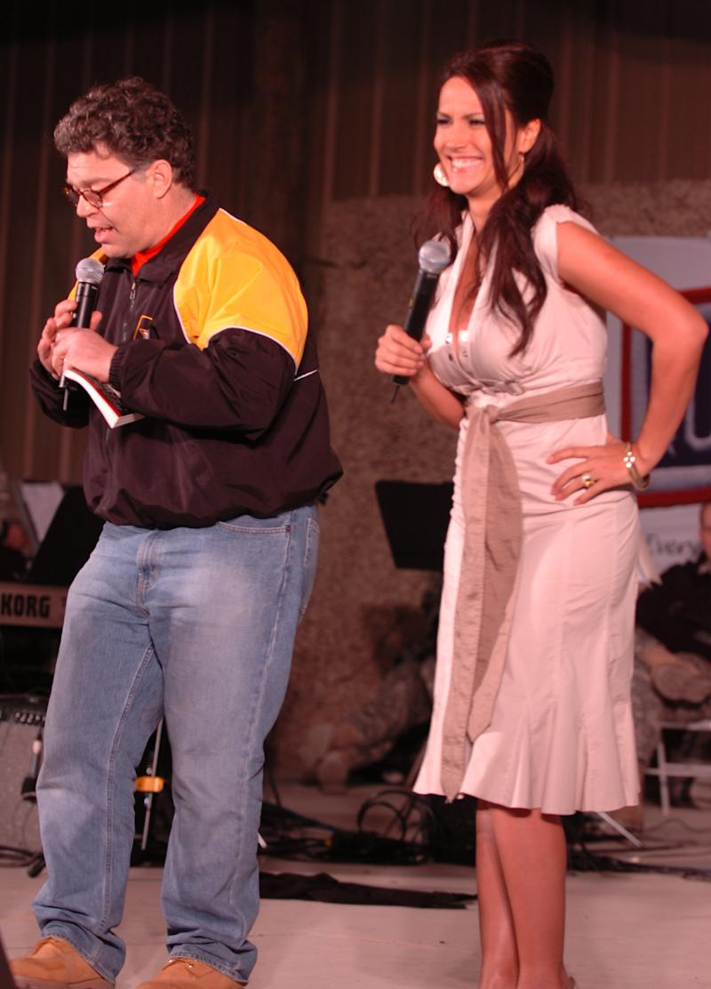 Franken and Tweeden perform a skit in Kuwait during the 2006 USO tour. (Staff Sgt Patrick Moes/DVIDS)