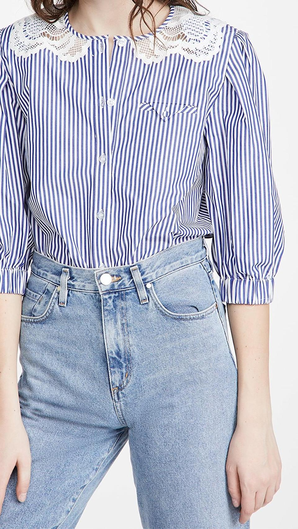 <p>The collar on this <span>Self Portrait Guipure Applique Stripe Cotton Top</span> ($340) is delicate and beautiful.</p>
