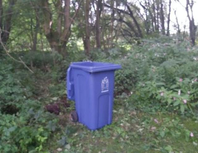 The blue wheelie bin found in the cemetery