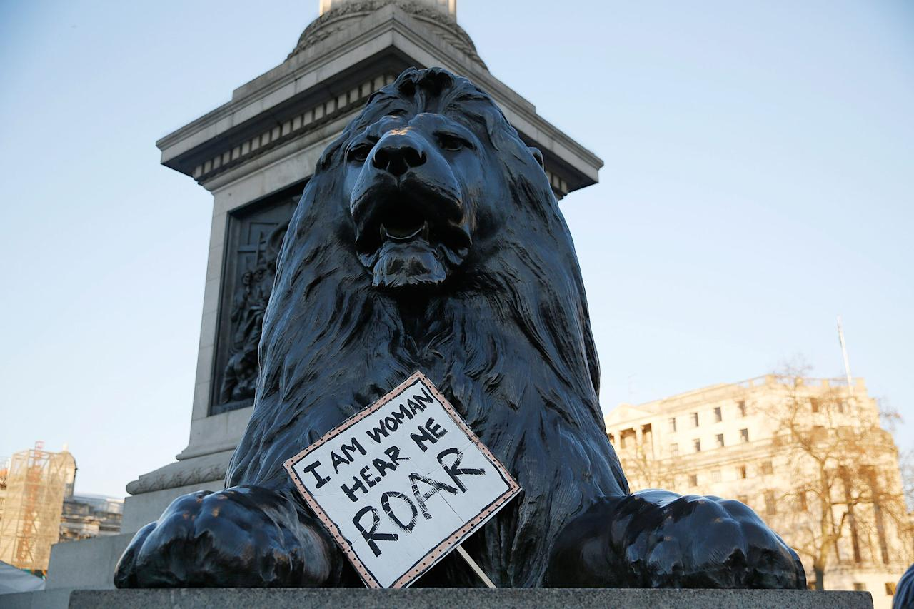 <p>A protest placard lays by a lion at the foot of Nelson's Column in Trafalgar Square during the Women's March on London, in central London, Britain January 21, 2017. The march formed part of a worldwide day of action following the election of Donald Trump to U.S. President. (Neil Hall/Reuters) </p>