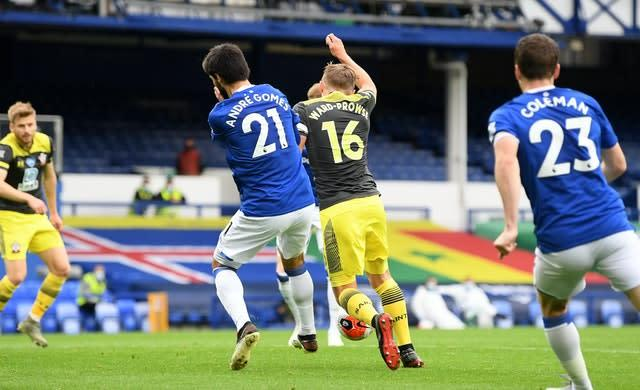 Everton midfielder Andre Gomes was adjudged to have fouled Southampton's James Ward-Prowse (Michael Regan/NMC Pool)