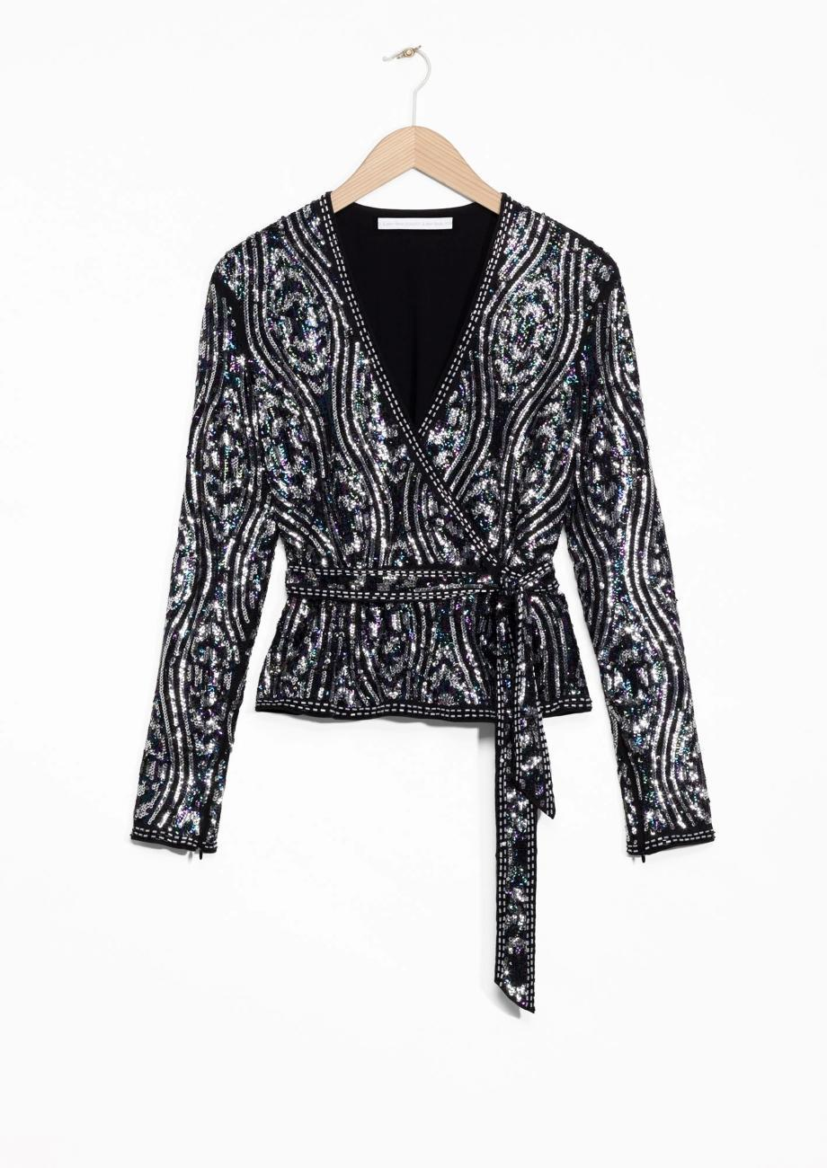 """<p><em><a href=""""http://www.stories.com/gb/Ready-to-wear/Tops/Sequined_Silk_Top/582942-114066848.1"""" rel=""""nofollow noopener"""" target=""""_blank"""" data-ylk=""""slk:& Other Stories, £69"""" class=""""link rapid-noclick-resp"""">& Other Stories, £69</a></em> </p>"""