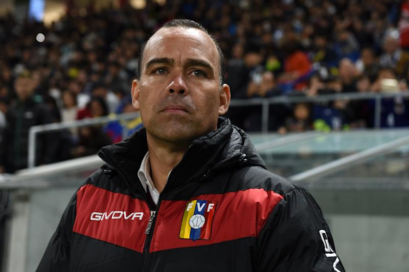 SUITA, JAPAN - NOVEMBER 19: Venuzuela head coach Rafael Dudamel looks on prior to the international friendly match between Japan and Venezuela at the Panasonic Stadium Suita on November 19, 2019 in Suita, Osaka, Japan. (Photo by Etsuo Hara/Getty Images)