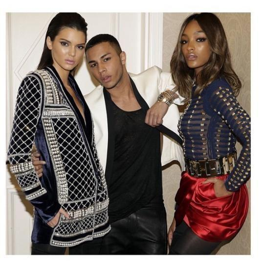 61f49532 View photos. Kendall Jenner, Olivier Rousteing, and Jourdan Dunn in Balmain  ...