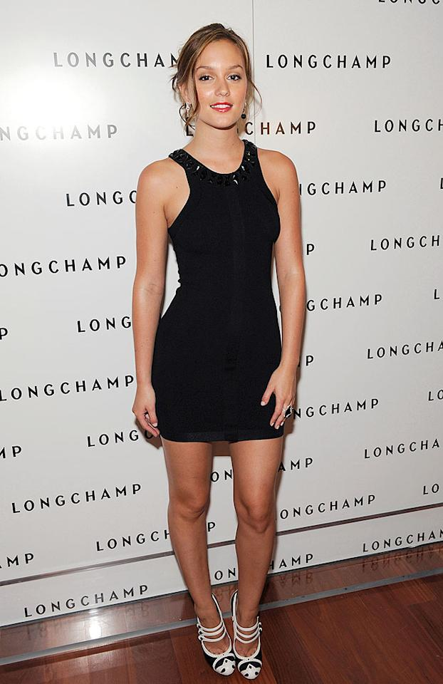 "Leighton Meester arrives at luxury leather retailer Longchamp's 60th anniversary party in New York City. The ""Gossip Girl"" star's LBD shows off her fabulous legs. Shawn Ehlers/<a href=""http://www.wireimage.com"" target=""new"">WireImage.com</a> - July 14, 2008"