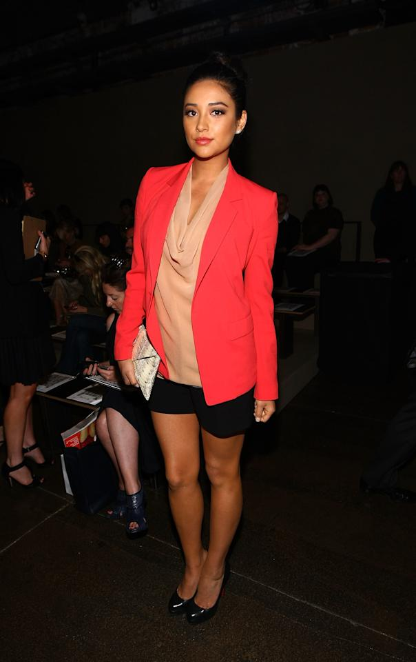 <p>Shay Mitchell attends the DKNY Spring 2012 fashion show during Mercedes-Benz Fashion Week.</p>