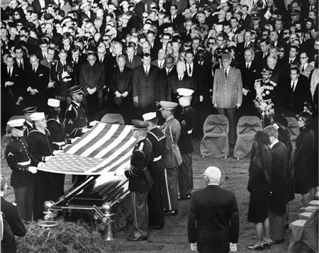 File handout image shows mourners attending the burial of former U.S. President Kennedy at Arlington National Cemetery