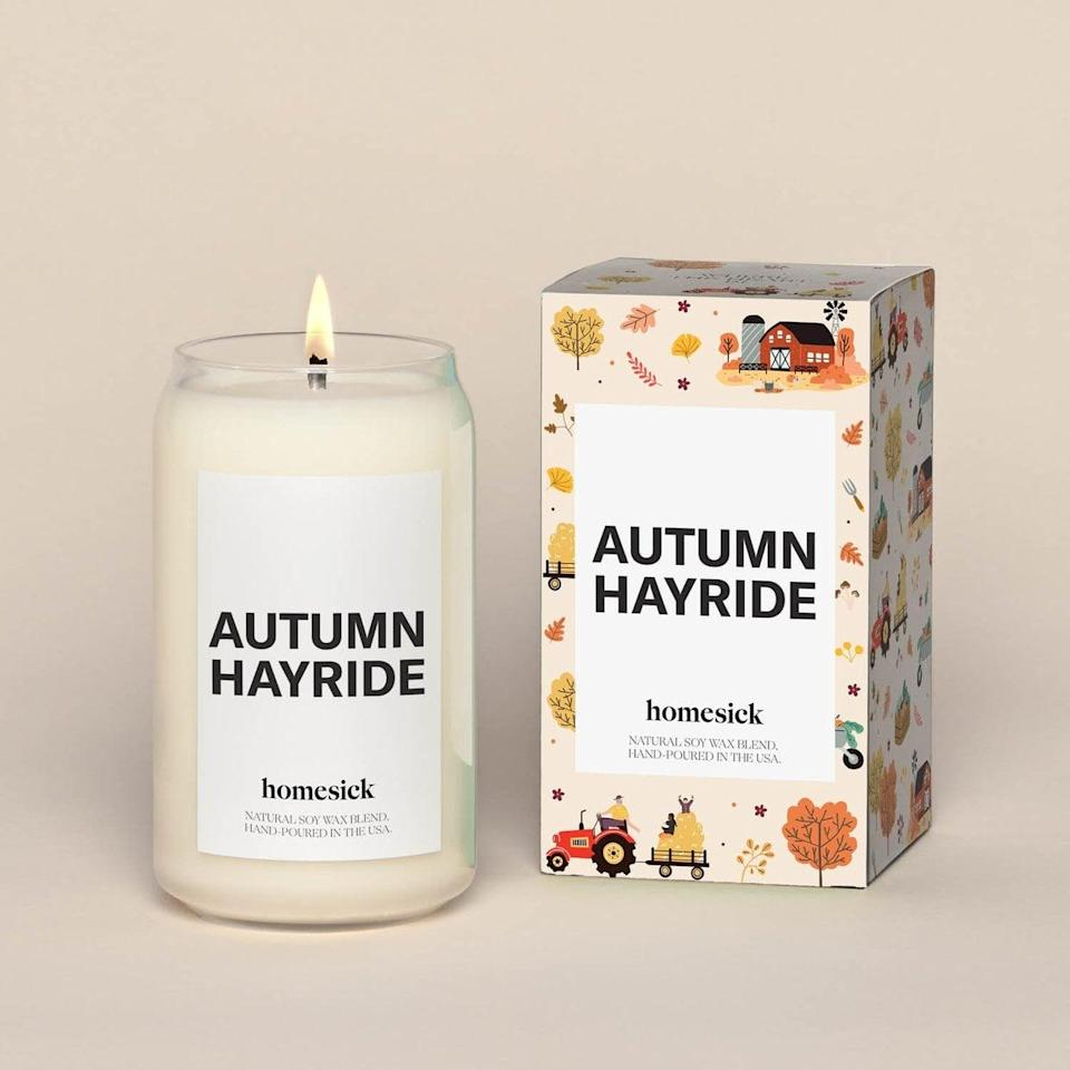 <p>This single wick <span>Homesick Autumn Hayride Candle</span> ($34) will bring a warm smile to your face and leave your home smelling like warm amber, maple bark, and nutmeg.</p>