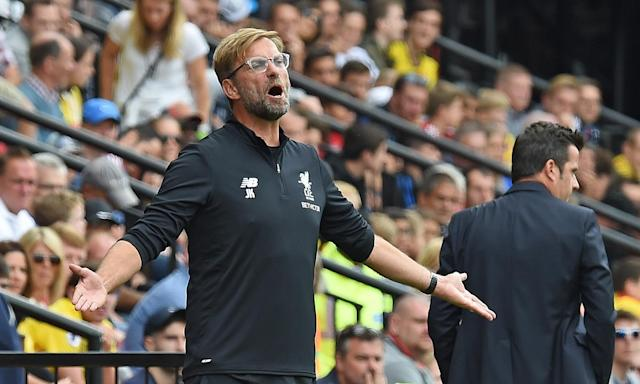 The Liverpool manager, Jürgen Klopp, cuts a frustrated figure during his side's 3-3 draw at Watford.