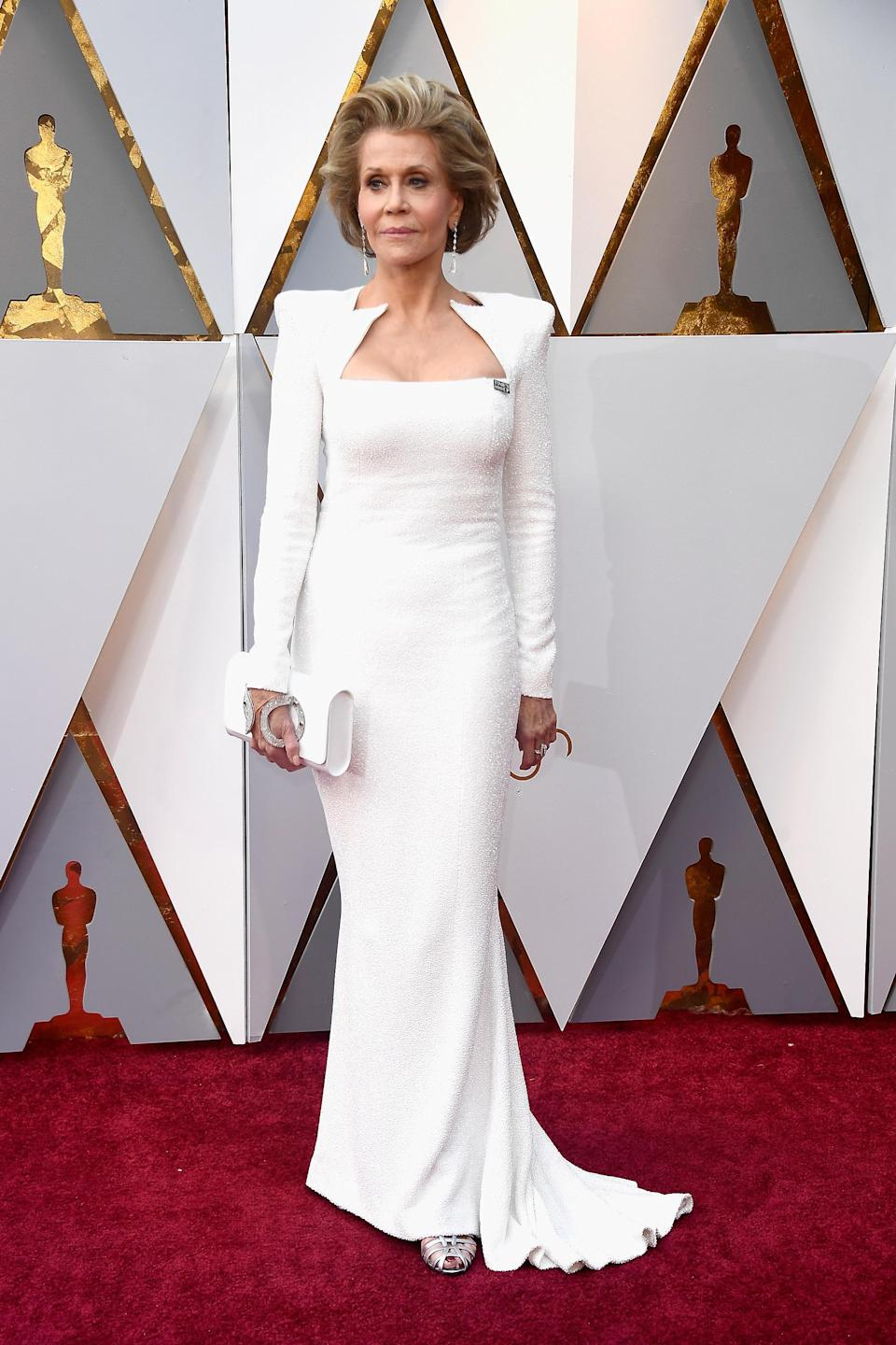 Jane Fonda's showcased her sartorial prowess many times during her years in the limelight, but it was at the 2018 Oscars, aged 80, that she wore a Balmain gown we'll never forget. The column-cut dress, from Olivier Rousteing's first red carpet collection complemented the star's sophisticated and structured style but boasted an edgy neckline.