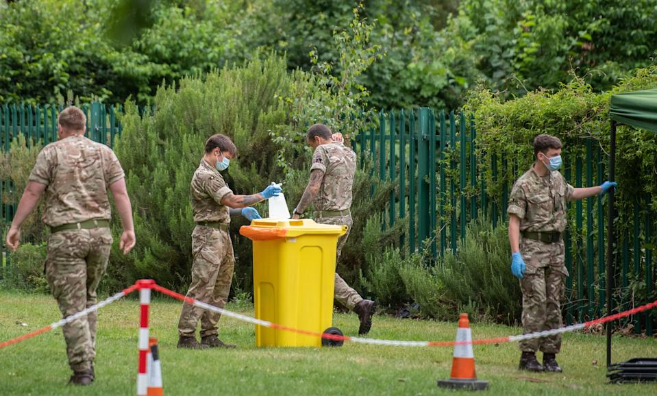 Members of the military set up a walk-in mobile Covid-19 testing centre at Spinney Hill Park in Leicester as the city may be the first UK location to be subjected to a local lockdown after a spike in coronavirus cases.