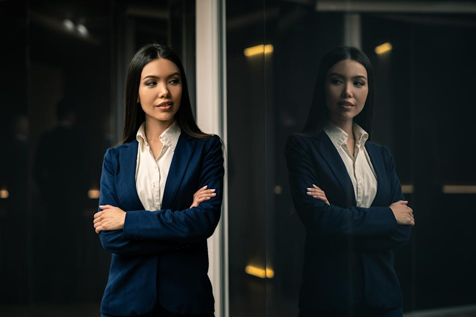 The beautiful asian businesswoman standing indoor