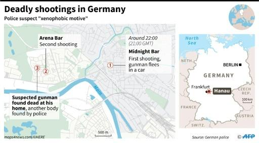 "Map locating Hanau, in Germany, and two bars where there were deadly shootings with a suspected ""xenophobic motive"", according to police"