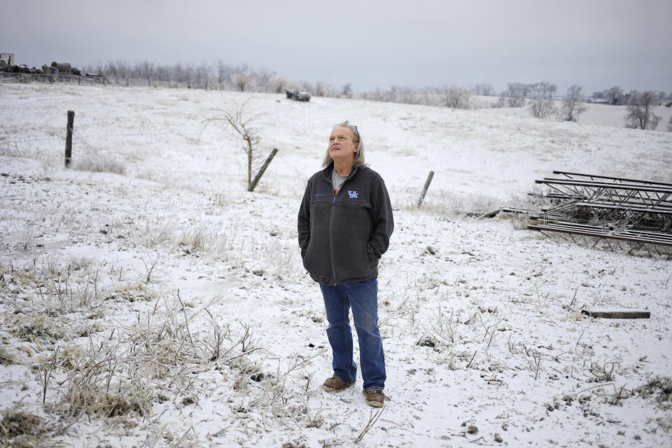 Kim Johnson on her farm in Ewing, Ky. (Luke Sharrett / for NBC News)