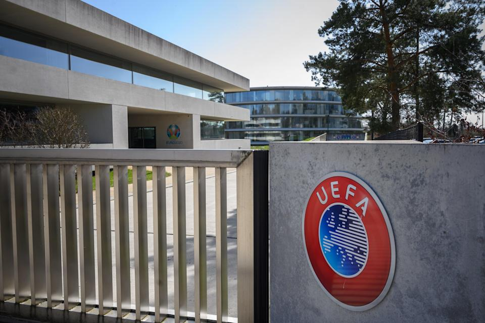 <p>Standing firm: UEFA will punish the three clubs standing by the rebel super league</p> (AFP via Getty Images)