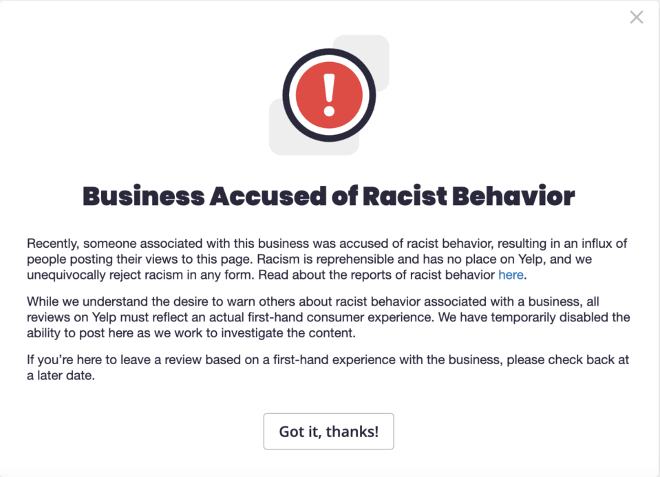 Yelp introduces a new consumer alert in response to racist accusations toward businesses. (Photo: Yelp)