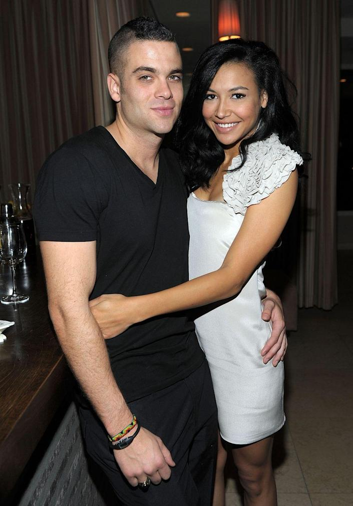 """<p>One of the many, many on-set romances involved Naya Rivera and Mark Salling.The costars began dating in 2007 and were together <a href=""""https://www.cosmopolitan.com/entertainment/a3380165/glee-cast-drama-timeline/"""" rel=""""nofollow noopener"""" target=""""_blank"""" data-ylk=""""slk:until August 2010"""" class=""""link rapid-noclick-resp"""">until August 2010</a>. Rumors swirled on set after Rivera threw dog food, eggs, and birdseed at Salling's car after reportedly catching him with other women, which she discussed in her memoir, <em><a href=""""https://www.amazon.com/dp/B01BD1SUHY/"""" rel=""""nofollow noopener"""" target=""""_blank"""" data-ylk=""""slk:Sorry Not Sorry"""" class=""""link rapid-noclick-resp"""">Sorry Not Sorry</a></em>.</p>"""