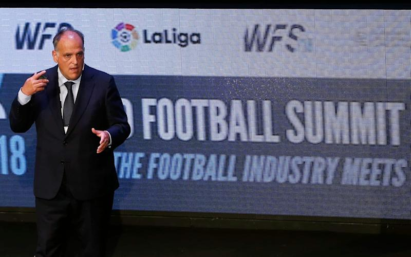 The Spanish football league, La Liga, is headed by Javier Tebas - AP