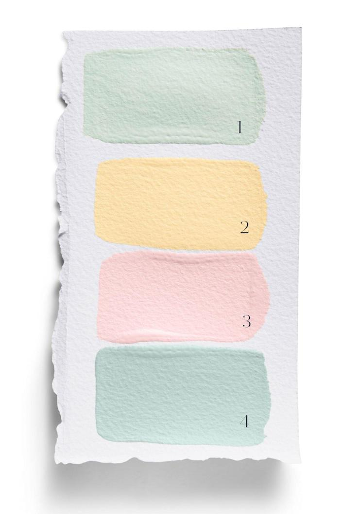 Pastel Color swatch with green, yellow, and pink