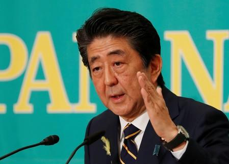 Japan's Prime Minister Shinzo Abe, who is also ruling Liberal Democratic Party leader, speaks at a debate session ahead of July 21 upper house election at the Japan National Press Club in Tokyo