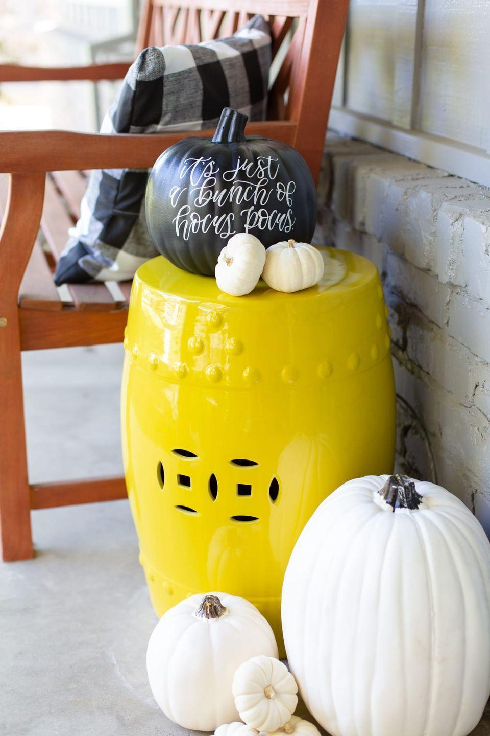 """<p>A simple black and white color palette helps more seasonal items, like pumpkins, go the distance from August through November. </p><p><a class=""""link rapid-noclick-resp"""" href=""""https://lovelyindeed.com/modern-black-and-white-halloween-decor/"""" rel=""""nofollow noopener"""" target=""""_blank"""" data-ylk=""""slk:GET TUTORIAL"""">GET TUTORIAL</a></p>"""