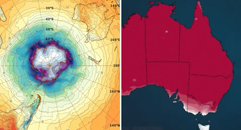 Maps from BoM showing the Antarctic wind system and the above average temperature expected in Spring.