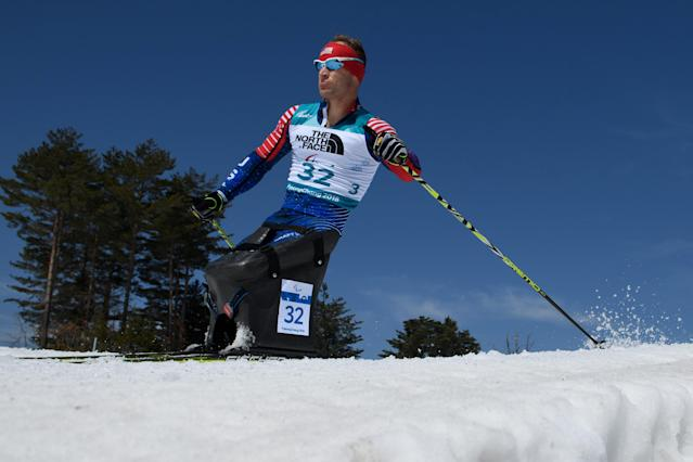 Daniel Cnossen USA competes during the Biathlon Sitting Men's 12.5km at the Alpensia Biathlon Centre. The Paralympic Winter Games, PyeongChang, South Korea, Tuesday 13th March 2018. OIS/IOC/Thomas Lovelock/Handout via Reuters