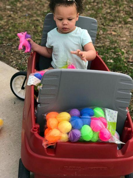 PHOTO: Delaney Drake, 2, is seen with the Easter eggs that her parents, Josh and Blakeley Drake of Manchester, Tenn., will plant in the yards of local families. (Courtesy Josh and Blakeley Drake)