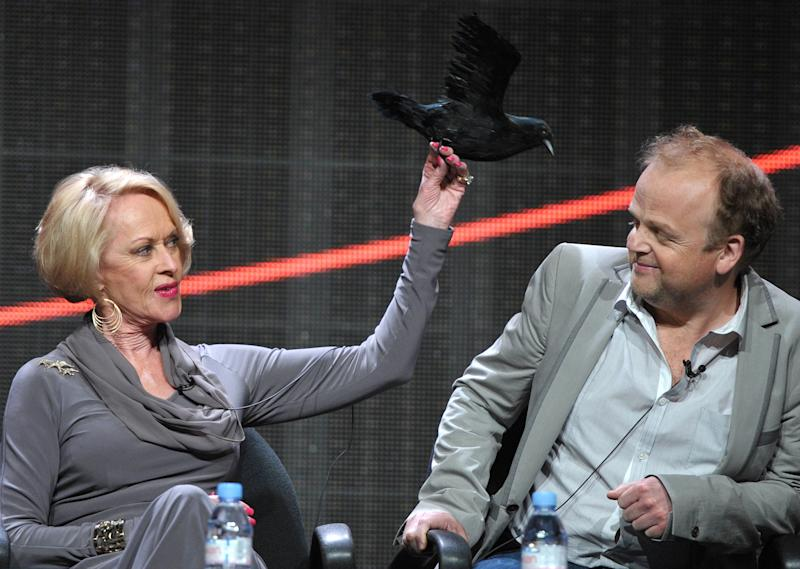 """Actors Tippi Hedren, left, and Toby Jones appear onstage during HBO's TCA panel for """"The Girl"""" at the Beverly Hilton hotel on Wednesday, Aug. 1, 2012, in Beverly Hills, Calif. (Photo by John Shearer/Invision/AP)"""