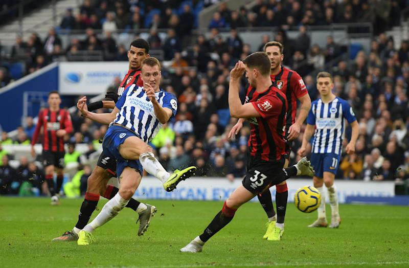 Dan Burn thought he had doubled Brighton's lead... (Photo by Mike Hewitt/Getty Images)