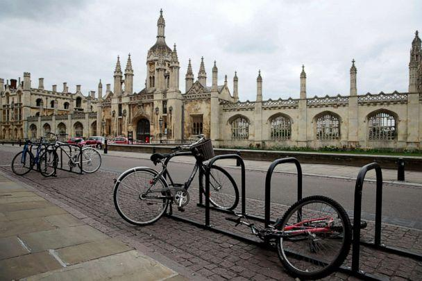 PHOTO: Bikes are seen outside the University of Cambridge in Cambridge, England, on April 1, 2020. (Andrew Couldridge/Reuters)