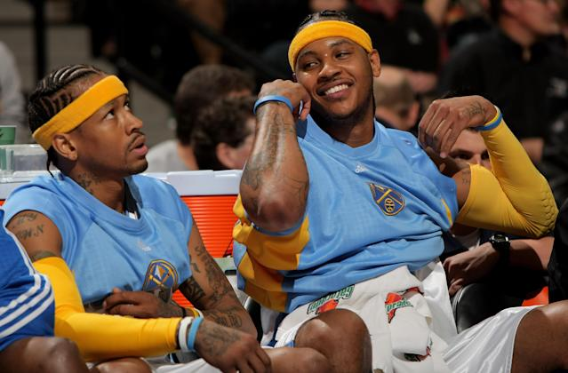 """<a class=""""link rapid-noclick-resp"""" href=""""/nba/players/3706/"""" data-ylk=""""slk:Carmelo Anthony"""">Carmelo Anthony</a> saw firsthand from Allen Iverson how to shoot your way out of the NBA. (Getty Images)"""