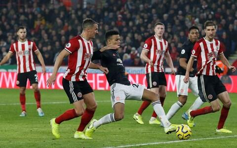 <span>Manchester United's Mason Greenwood showed a great reading of the game to be in the perfect place as the cross came in </span> <span>Credit: Reuters </span>