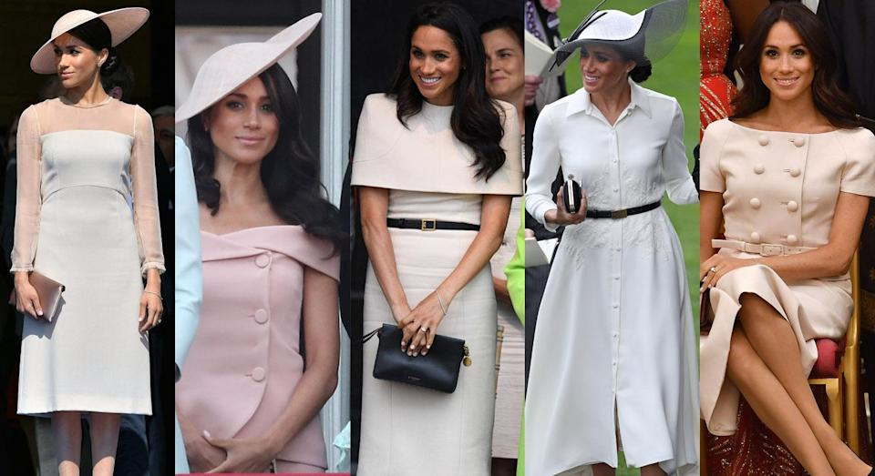How has Meghan Markle's wardrobe changed in keeping with the Buckingham Palace rule book? [Photo: Getty]