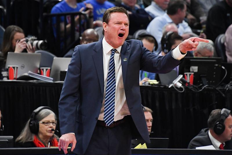 Kansas Jayhawks head coach Bill Self reacts during the first half of an NCAA tournament game. (USAT)