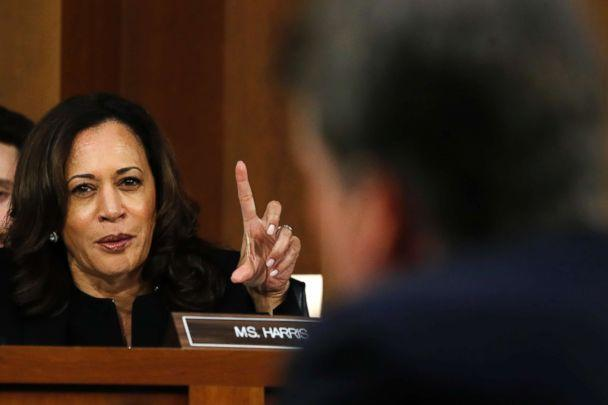 PHOTO: Sen. Kamala Harris questions President Donald Trump's Supreme Court nominee, Brett Kavanaugh, on the third day of his Senate Judiciary Committee confirmation hearing, Sept. 6, 2018, on Capitol Hill in Washington, DC. (Jacquelyn Martin/AP, FILE)