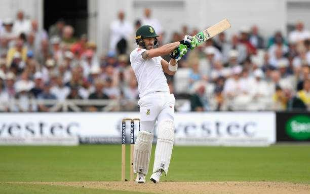 NOTTINGHAM, ENGLAND - JULY 16: South Africa batsman Faf du Plessis hits out during day three of the 2nd Investec Test match between England and South Africa at Trent Bridge on July 16, 2017 in Nottingham, England. (Photo by Stu Forster/Getty Images)