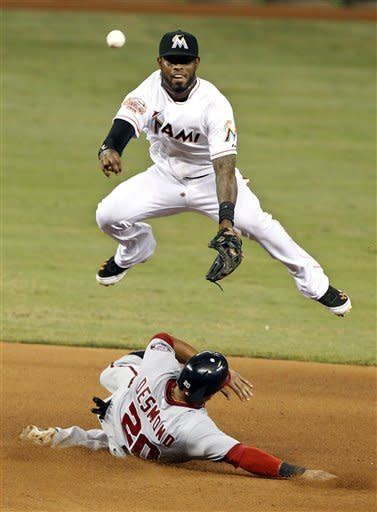 Washington Nationals' Ian Desmond (20) is out at second as Miami Marlins shortstop Jose Reyes throws to first, where Rick Ankiel was out to complete the double play in the seventh inning during a baseball game, Tuesday, May 29, 2012, in Miami. (AP Photo/Lynne Sladky)