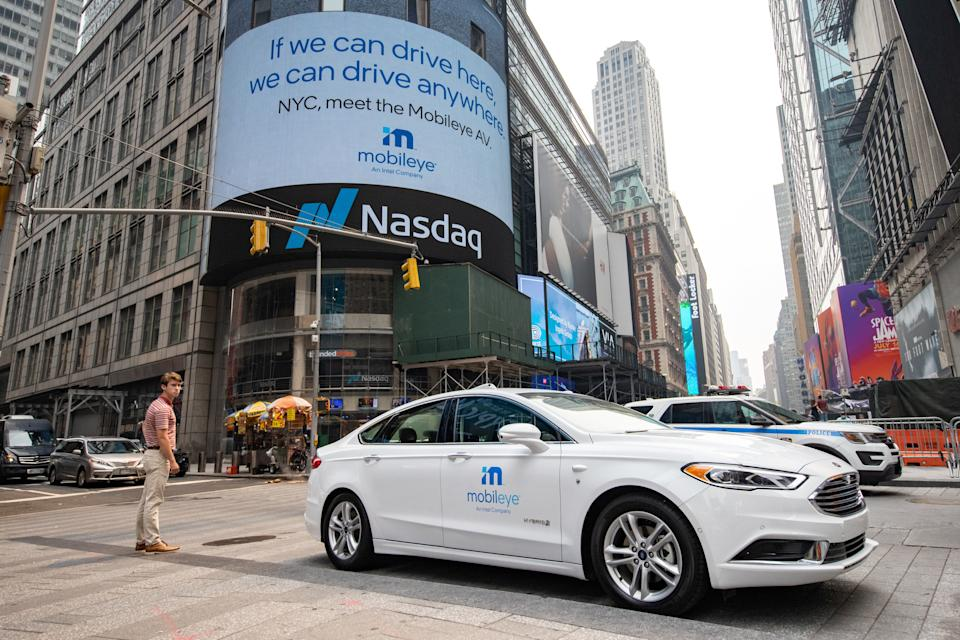 Mobileye driverless car is seen at the Nasdaq Market site in New York, U.S., July 20, 2021. REUTERS/Jeenah Moon