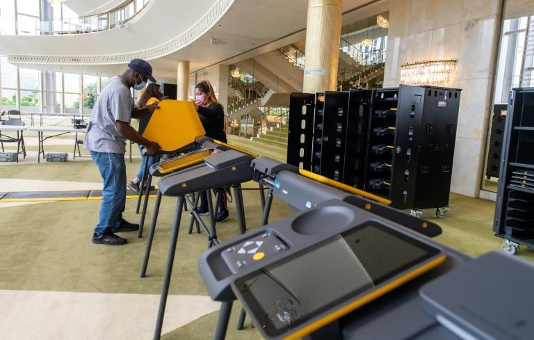 Workers set up a Voting Center at the Music Center in downtown Los Angeles in California, home to an entertainment industry seen as overwhelmingly liberal
