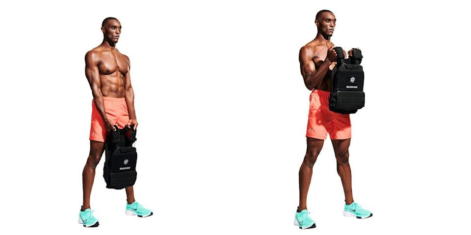 <p>Continuing from the previous move, hold the vest's shoulder straps with an underhand grip (<strong>A</strong>) and just curl it as you would an EZ-bar, fists towards your shoulders, squeezing your biceps at the top of the movement (<strong>B</strong>). </p>