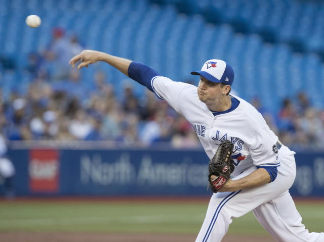 Toronto Blue Jays starting pitcher Jake Petricka throws to a New York Mets batter during the third inning of a baseball game Tuesday, July 3, 2018, in Toronto. (Fred Thornhill/The Canadian Press via AP)