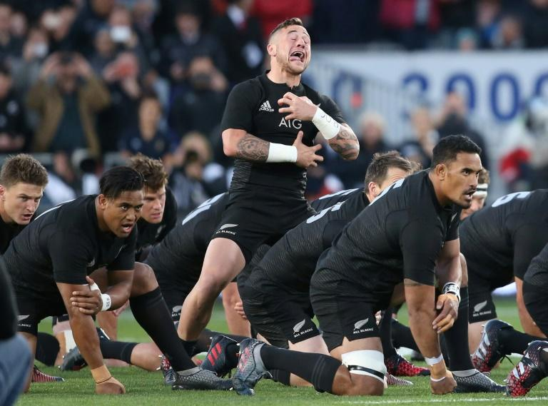New Zealand All Blacks' players perform the haka ahead of a rugby union Test match at Eden Park in Auckland, in October 2016