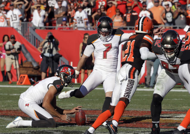 Tampa Bay Buccaneers kicker Chandler Catanzaro (7) kicks the 59-yard game-winning field goal in overtime during an NFL football game Sunday, Oct. 21, 2018, in Tampa, Fla. The Buccaneers won the game 26-23. (AP Photo/Chris O'Meara)
