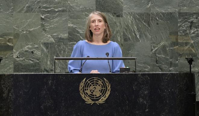 Cherith Norman Chalet, acting US deputy permanent representative to the UN, speaking on Monday. Photo: EPA-EFE