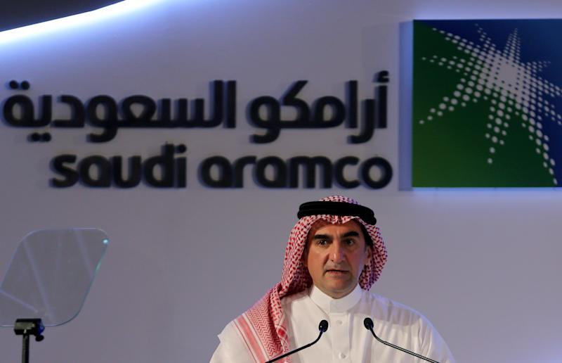 Yasser al-Rumayyan, Saudi Aramco's chairman, speaks during a news conference at the Plaza Conference Center in Dhahran, Saudi Arabia November 3, 2019. REUTERS/Hamad I Mohammed