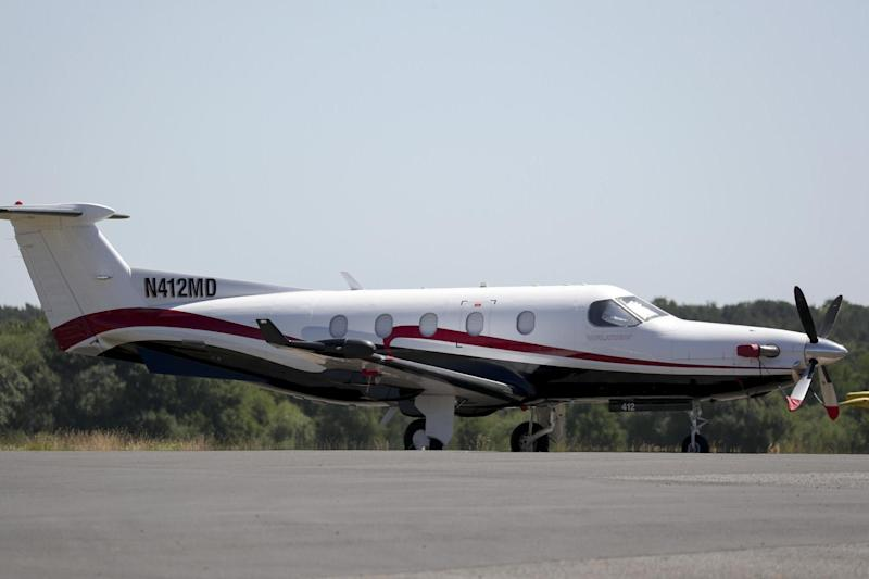 The Pilatus PC12 plane which took off from Fairoaks airfield in Surrey before flying to RAF Valley in North Wales: PA