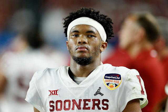 Oklahoma QB Kyler Murray has a fan in Kliff Kingsbury, but it's unclear if the infatuation is strong enough for the Cardinals to draft him No. 1. (Getty Images)