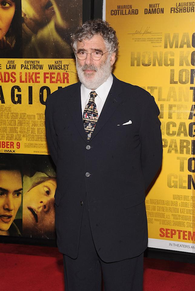 """<a href=""""http://movies.yahoo.com/movie/contributor/1800020189"""">Elliott Gould</a> at the New York City premiere of <a href=""""http://movies.yahoo.com/movie/1810161340/info"""">Contagion</a> on September 7, 2011."""