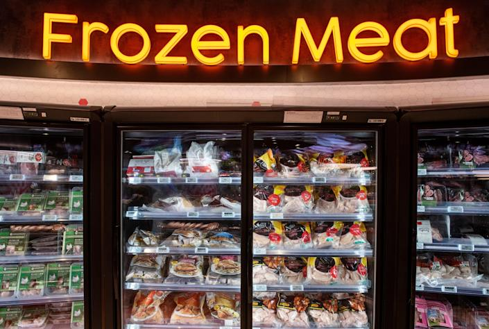 Frozen meat section grocery store